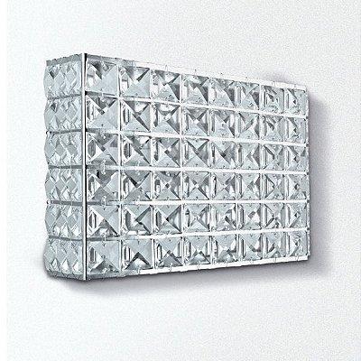 Arandela Golden Art Retangular Cristal Asfour Luminária Metal Cromo 15x20 G9 PC002 Entradas Salas