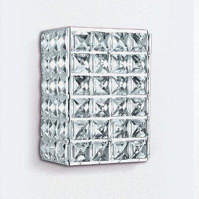 Arandela Golden Art Retangular Cristal Asfour Translucido Luminária Metal 15x10 G9 PC003 Banheiros Quartos