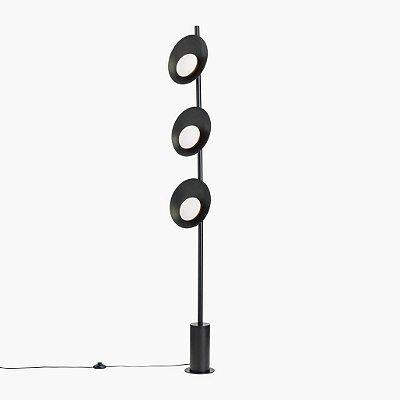 Coluna Golden Art Orvalho Tripla Linear Moderna Metal Preto 170cm 3x LED 3 Watts C1820-3 Sala Estar Quartos