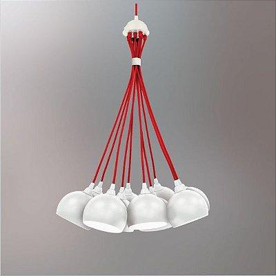 Lustre Golden Art Design Moderno Cacho Cores Personalizadas Branco Vermelho 10 Lamp. Ø50x1m G9 T202-10 Cozinhas Salas