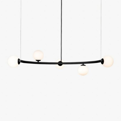 Lustre Golden Art Arco Black Contemporãneo com Cúpula Vidro