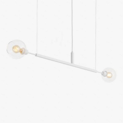 Lustre Golden Art Due G Horizontal Branco Contemporãneo 1,3mt com Cúpula Vidro