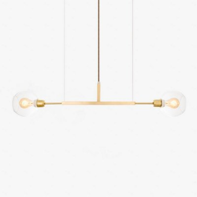 Lustre Golden Art Due P Horizontal Contemporãneo Dourado com Cúpula Vidro