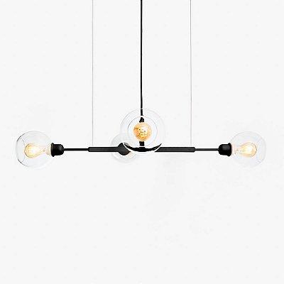 Lustre Golden Art Quattro P Contemporãneo Black com Cúpula Vidro