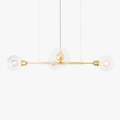 Lustre Golden Art Quattro P Contemporãneo Dourado com Cúpula Vidro