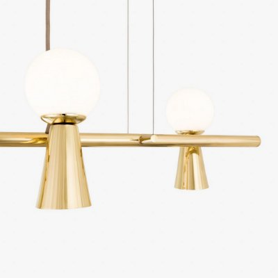 Lustre Golden Art Pendente Golden Art Pivô 5 Contemporãneo Lamp. Dourado Brilho(Polido) com Lâmpadas