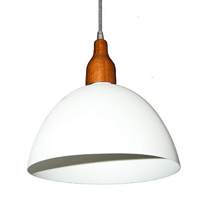 Pendente Golden Art 1/2 Esfera Madeira Natural Metal Branco 28x17cm 1x Lamp. E27 110v 220v Bivolt T943 Balcões Cozinhas