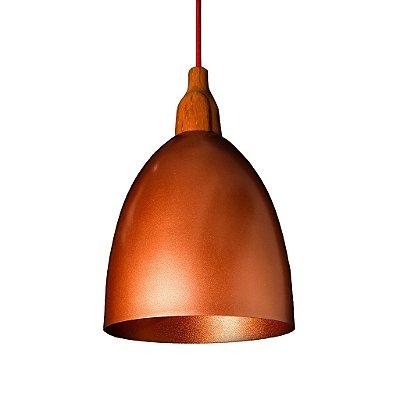 Pendente Golden Art 1/2 Ovo Madeira Natural Metal Vermelho 26x22,5cm 1x Lamp. E27 110v 220v Bivolt T934 Cozinhas Balcões
