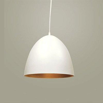 Pendente Golden Art 1/2 Ovo Suspenso Metal Branco 30x25cm 1x Lamp. E27 110v 220v Bivolt T947-30 Quartos Cozinhas