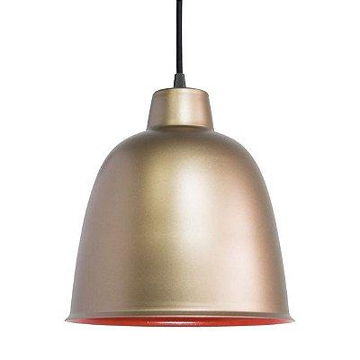 Pendente Golden Art Metal Dourado Fosco Redondo Contemporâneo 24x28 Termo E-27 T290 Cozinhas Hall