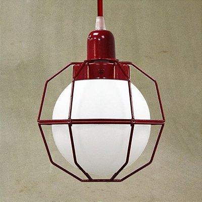 Pendente Golden Art Aramado Cores Personalizadas Vermelho Cúpula Vidro Leite 20x28 Aramis E-27 T241-1 Sala Estar Saguão