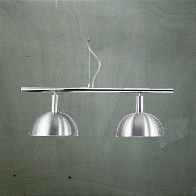 Pendente Golden Art Bilhar Sinuca Duplo 1/2 Esfera Metal Escovado 2 Lamp. 29x90 E-27 T143-2 Sala Estar Saguão