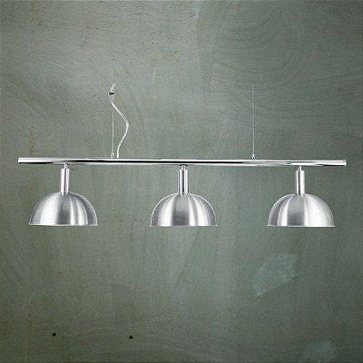 Pendente Golden Art Bilhar Sinuca Triplo 1/2 Esfera Metal Escovado 3 Lamp. 29x1,40 E-27 T143-3 Hall Salas