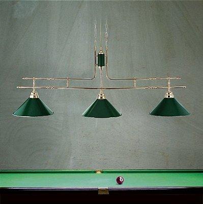 Pendente Golden Art Bilhar Sinuca Triplo Dourado Cúpula Cone Colorida 3 Lamp. 1,30x1,30m E-27 T140-3 Hall Salas