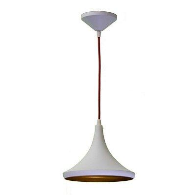 Pendente Golden Art Chapéu Cone Suspenso Metal Branco 24x20cm 1x Lamp. E27 110v 220v Bivolt T9077-B Sala Estar Mesas