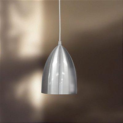 Pendente Golden Art Cone Metal Escovado Contemporâneo 15x24 E-27 T211 Cozinhas Saguão