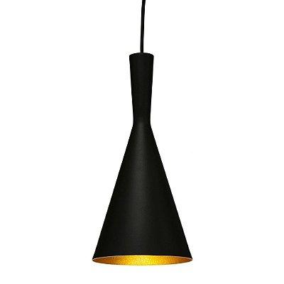 Pendente Golden Art Cone Suspenso Cone Metal Preto 40x19cm 1x Lamp. E27 110v 220v Bivolt T9056-A Cozinhas Balcões
