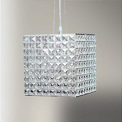 Pendente Golden Art Cristal Quadrado Cubico Contemporâneo 22x20cm 1x G9 Halopin 110v 220v Bivolt T958 Sala Estar Entradas