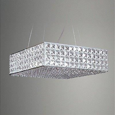 Pendente Golden Art Cristal Quadrado Sobrepor Contemporâneo 10x55cm 1x G9 Halopin 110v 220v Bivolt T956-55 Sala Estar Hall