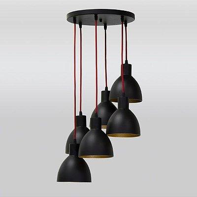 Pendente Golden Art Design Moderno Cascata Metal Preto Cabo PP 6 Lamp. 30x1m Seed E-27 T893-6 Sala Estar Saguão