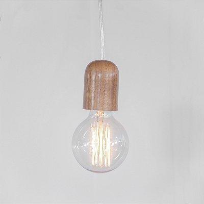 Pendente Golden Art Off Suspenso Madeira Natural Fio Lonado 100cm 1x Lamp. E27 110v 220v Bivolt T1000-MD Sala Estar Cozinhas