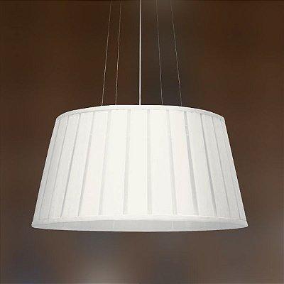 Pendente Golden Art Seda Pregueada Redondo Tecido Branco 26x50cm 3x Lamp. E27 110v 220v Bivolt T971 Quartos Mesas