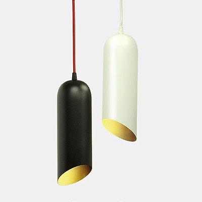 Pendente Golden Art Tubo Suspenso Metal Preto/Branco 30x10cm 1x Lamp. E27 110v 220v Bivolt T915-1 Balcões Cozinhas