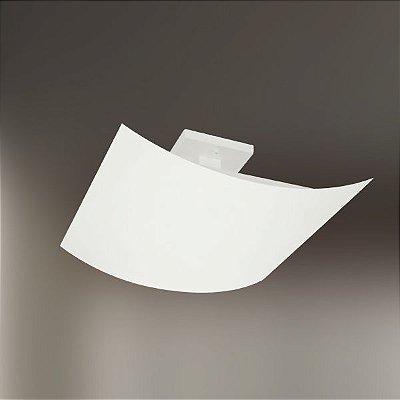 Plafon Golden Art Quadrado Curva Metal Fosco Branco Luz Indireta 40x40 Halógena T199 Sala Estar Quartos