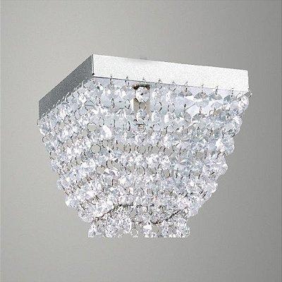 Plafon Golden Art Sobrepor Quadrado Metal Cromo Cristal Asfour Translucido 15x15 G9 T282-A Banheiros Salas