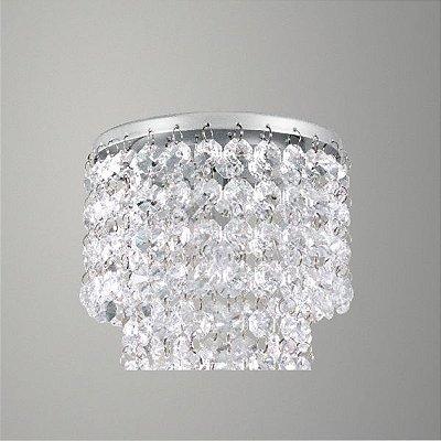 Plafon Golden Art Sobrepor Redondo Metal Cromo Cristal Asfour Translucido Ø13 G9 T279-A Quartos Salas