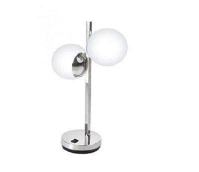Abajur Old Artisan Iluminação ABJ5309 Duplo Interruptor Esfera Bola De Vidro Aço Escovado Moderno (2 - G9) A-430XL-250XP-120
