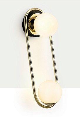 ARANDELA Klaxon Iluminação Dance Aro Redondo Dupla Esfera Bola Vidro Moderno  17,5 cm x 49,6 cm x 20,9 cm