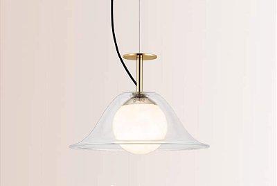 PENDENTE Klaxon Iluminação Inside Chapeu Redondo Esfera Bola Vidro Moderna30 cm x 21,2 cm x 30 cm