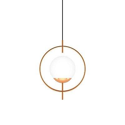 PENDENTE Klaxon Iluminação Think Aro Redondo Esfera Bola Vidro Moderno 36,3 cm x 46,5 cm x 20 cm