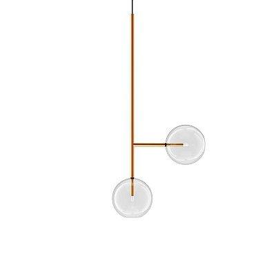 PENDENTE Klaxon Iluminação Together ll Vertical Esfera Bola Vidro Moderno 57,2 cm x 57,2 cm x 25 cm
