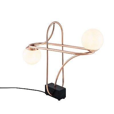 Abajur LUMINÁRIA DE MESA Klaxon Iluminação We Duplo Aro Moderno Esfera Bola Vidro 55,6 cm x 45,5 cm x 15 cm