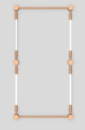 Arandela LUMINÁRIA Klaxon Iluminação CHÂTELET Retangular Tubular Led Moderna  (4 lâmpadas) 94 cm  x 180 cm x 4 cm