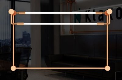 Arandela  LUMINÁRIA Imports Iluminação LA DÉFENSE (Horizontal) Retangular Tubular Led Moderna 154 cm x 94 cm x 16 cm
