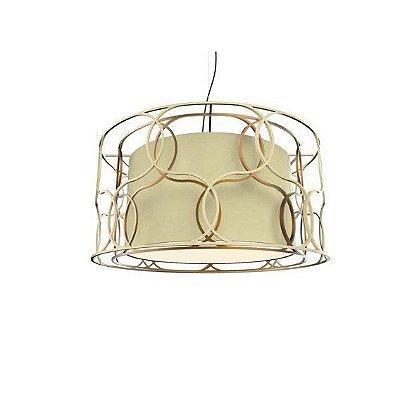PENDENTE Klaxon Iluminação SOTTILE DOPPIO Cupula Tecido Aramado Redondo 60 cm x 30 cm x 60 cm