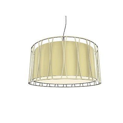 PENDENTE Klaxon Iluminação CARINO SOLLO Cupula Tecido Aramado Redondo  60 cm x 30 cm x 60 cm