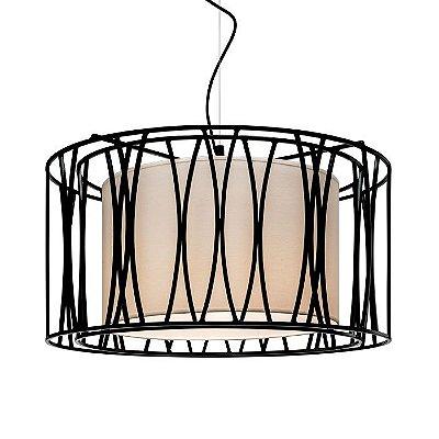 PENDENTE Klaxon Iluminação CARINO DOPPIO Cupula Tecido Aramado Redondo  60 cm x 30 cm x 60 cm