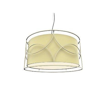 PENDENTE Imports Iluminação BELLO SOLLO Cupula Tecido Aramado Redondo  60 cm x 30 cm x 60 cm