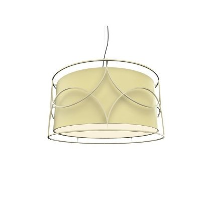 PENDENTE Klaxon Iluminação BELLO SOLLO Cupula Tecido Aramado Redondo  60 cm x 30 cm x 60 cm
