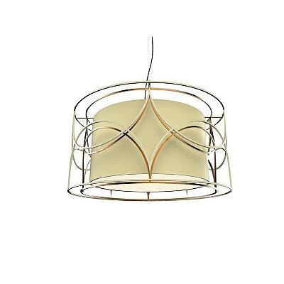 PENDENTE Klaxon Iluminação BELLO DOPPIO Cupula Tecido Aramado Redondo  60 cm x 30 cm x 60 cm