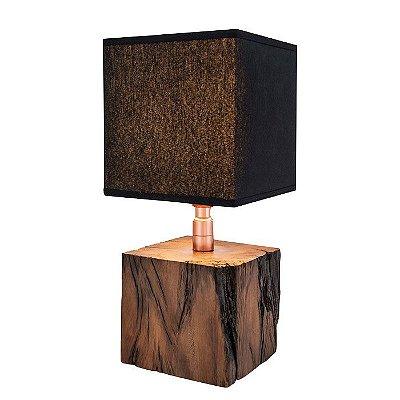 Abajur LUMINÁRIA DE MESA Klaxon Iluminação 1856 Nicolas Base Cupula Tecido Madeira Quadrada 20 cm x 41,2 cm x 20 cm