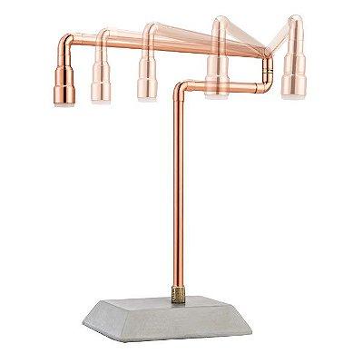 Abajur LUMINÁRIA DE MESA Klaxon Iluminação ECO COPPER  Base concreto Tubular Cano 20 cm x 17 cm x 14 cm