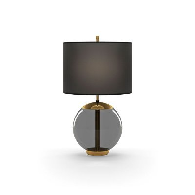 ABAJUR Klaxon Iluminação MID Base Bola Vidro Cupula Tecido Redonda 35 cm x 57 cm x 35 cm