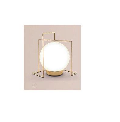Abajur LUMINÁRIA DE MESA Klaxon Iluminação CÂMPANULA I Aramado Esfera Bola de Vidro Moderna 13,5 cm x 18,5 cm x 12 cm