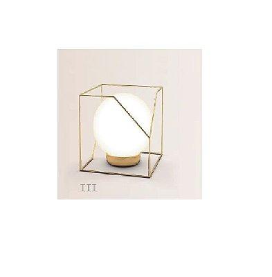 Abajur LUMINÁRIA DE MESA Klaxon Iluminação CÂMPANULA Ill Aramado Esfera Bola de Vidro Moderna 13,5 cm x 13,5 cm x 12 cm