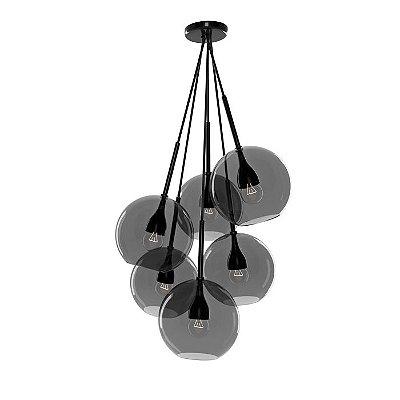 PENDENTE Klaxon Iluminação KAMARI Fumê Pendurado Esfera Bola de Vidro Moderno 65 cm x 30 cm x 65 cm